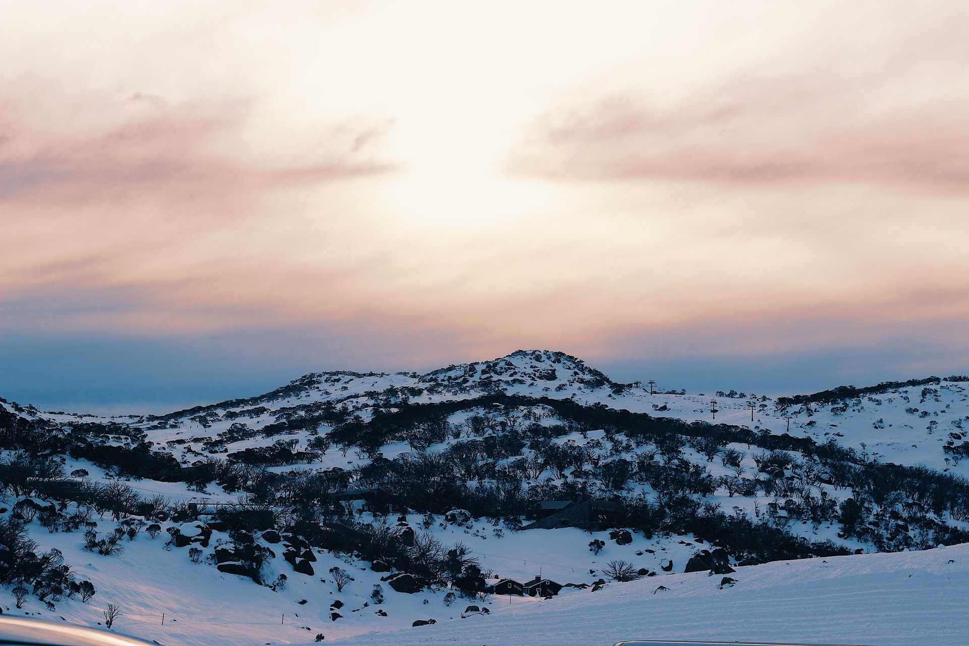 mount buller snowy mountain at sunset