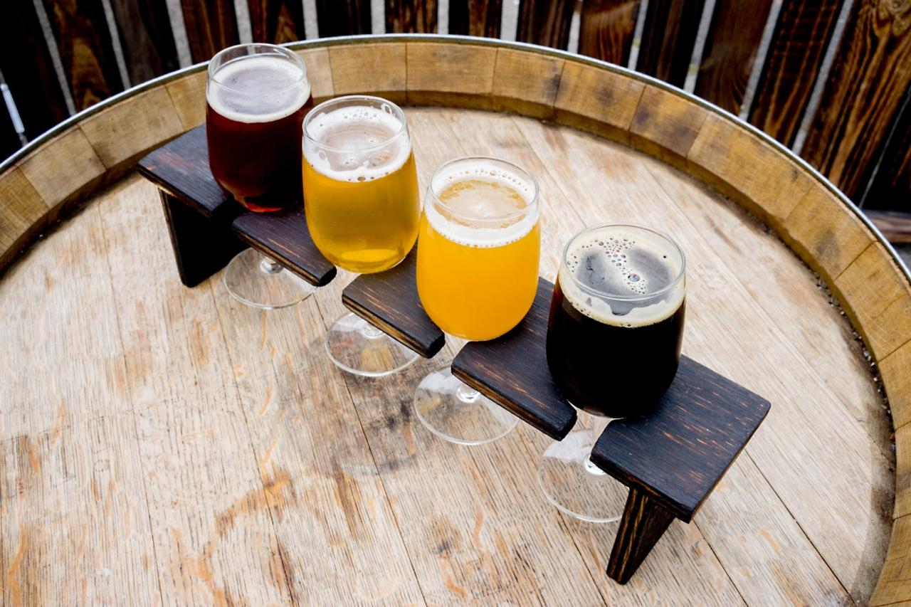 Paddle of different coloured craft beers